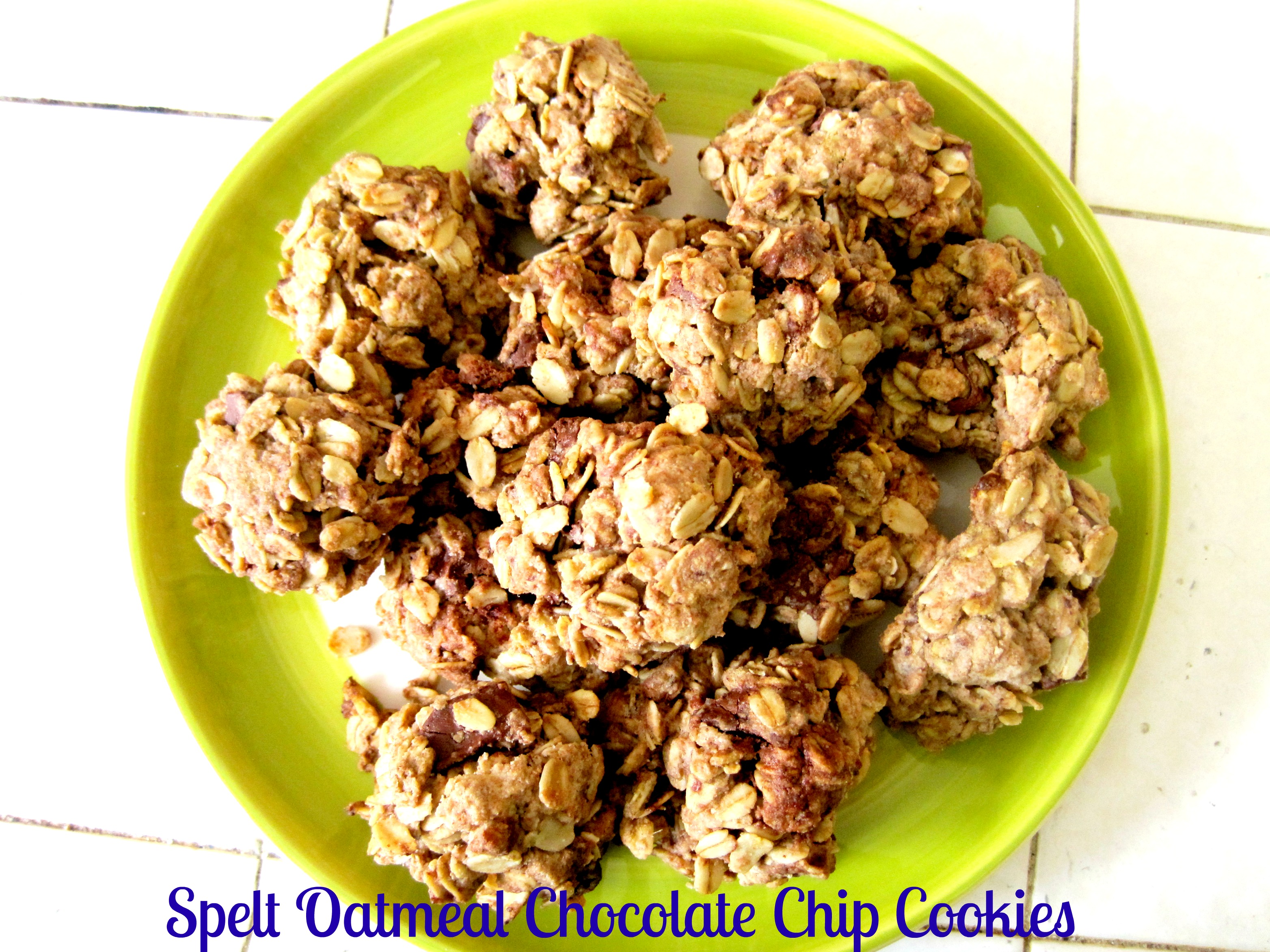 spelt oatmeal chocolate chip cookies pin