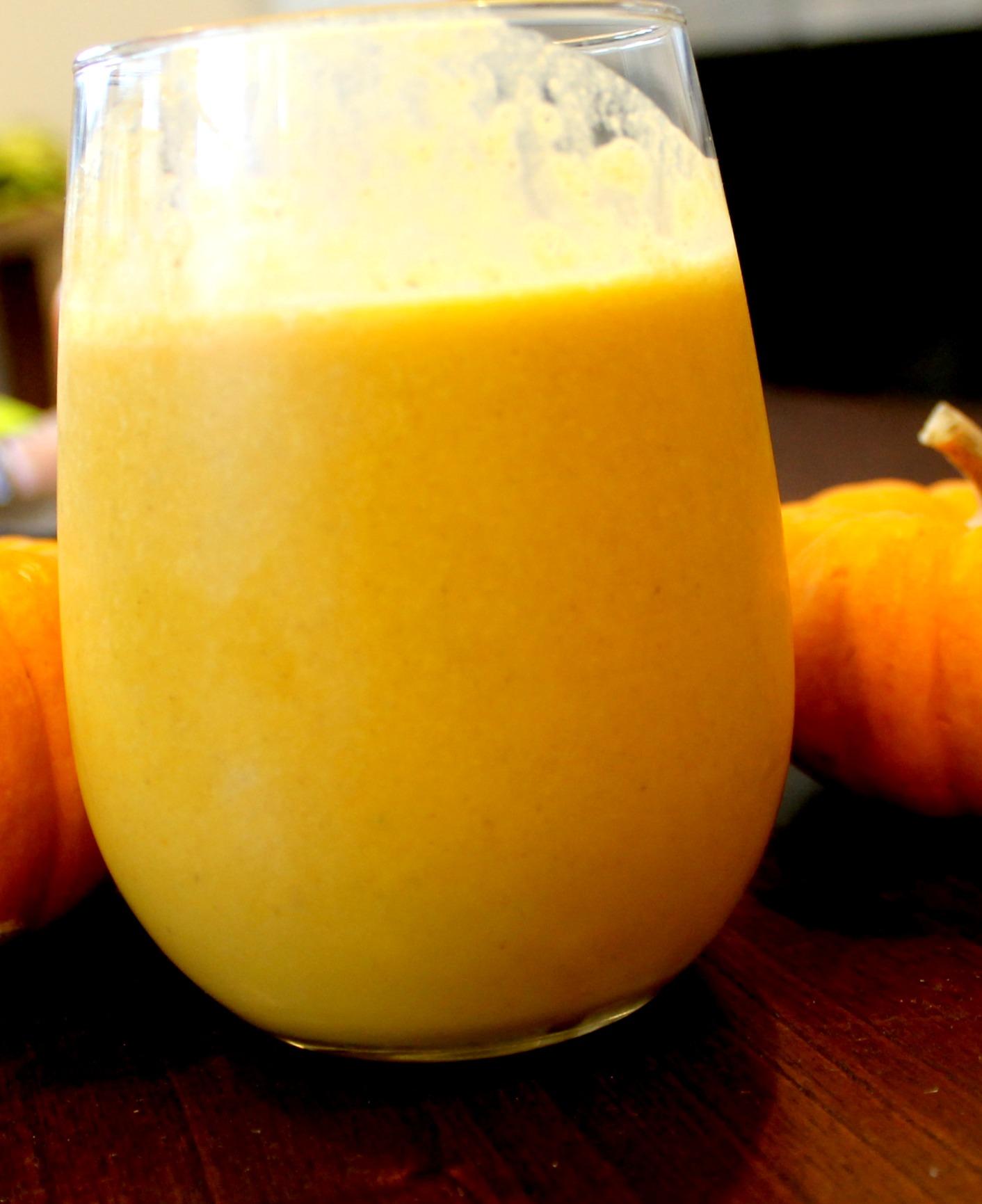 pumpkin pie smoothie close up