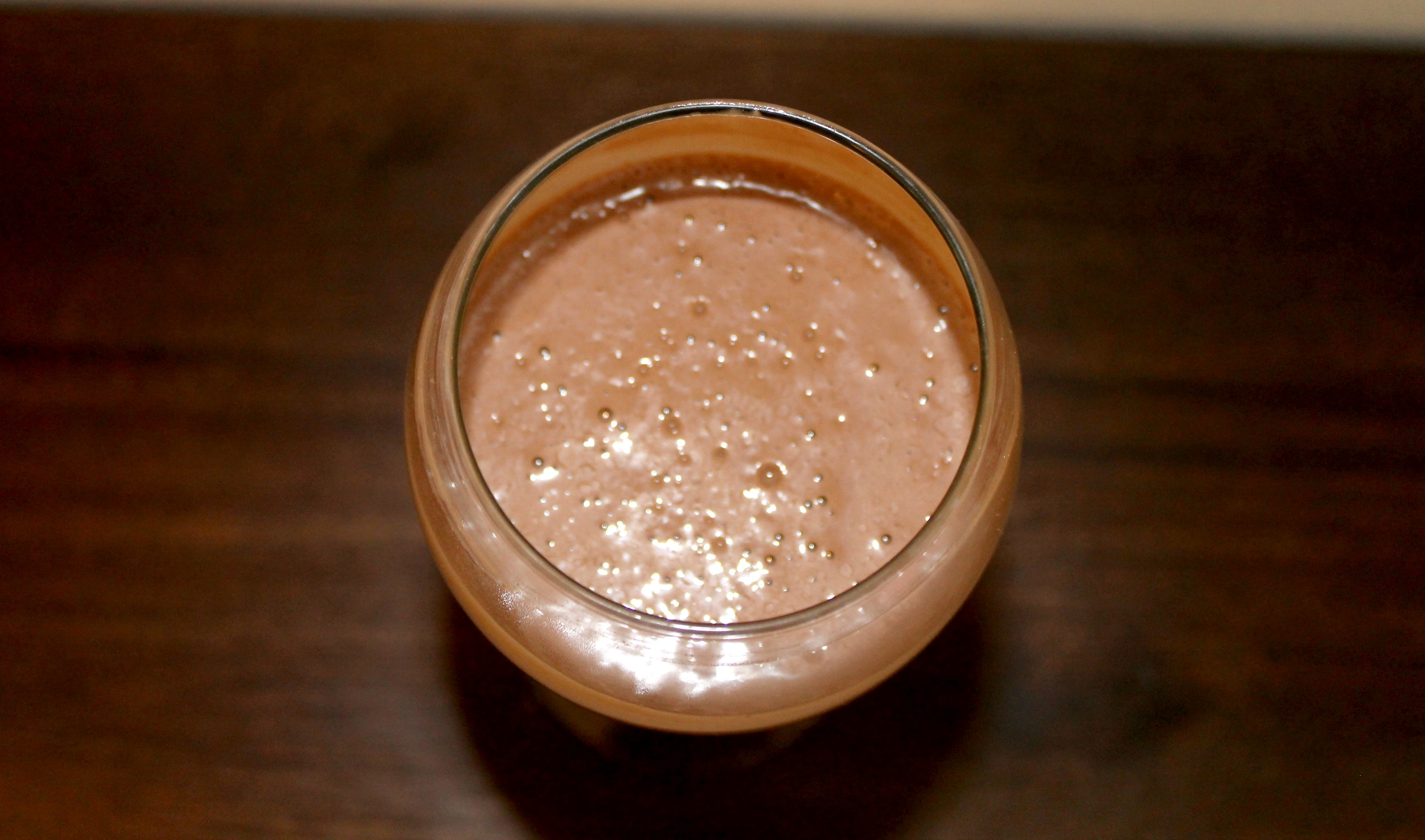Chocolate Peanut Butter Banana Smoothie Overhead
