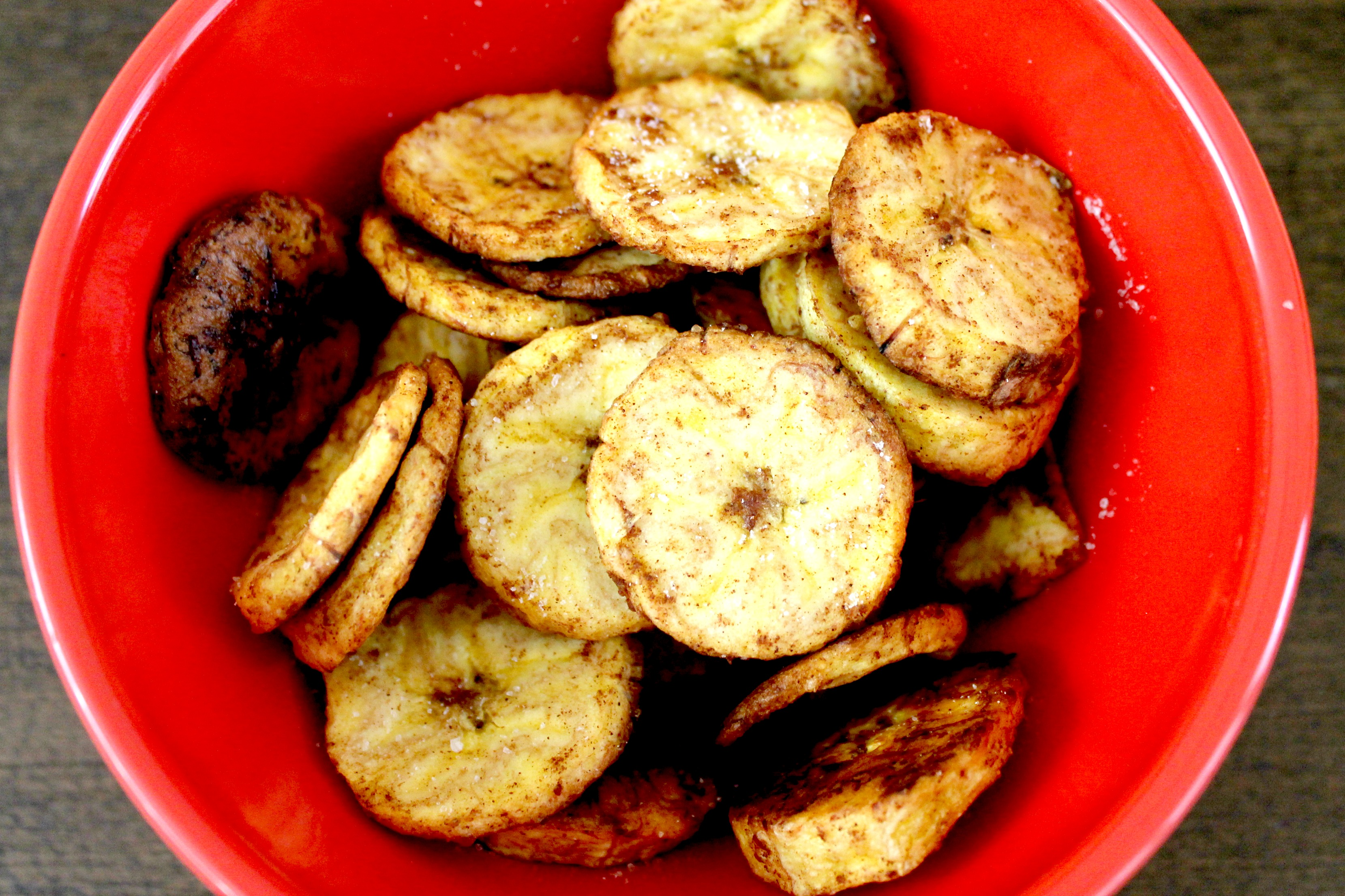 Baked Plantain Chips Close Up