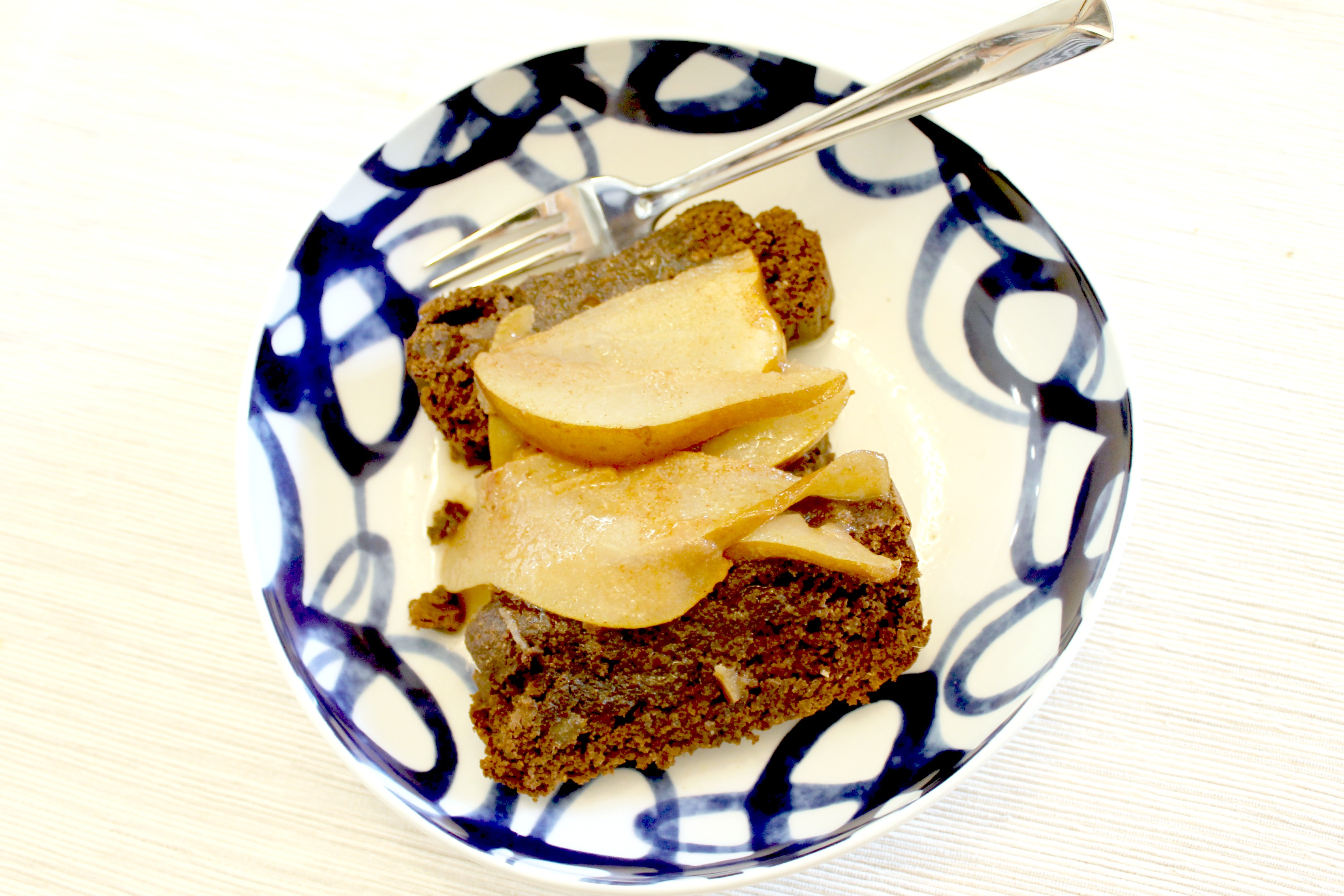 Ginger Tea Cake with Poached Pears
