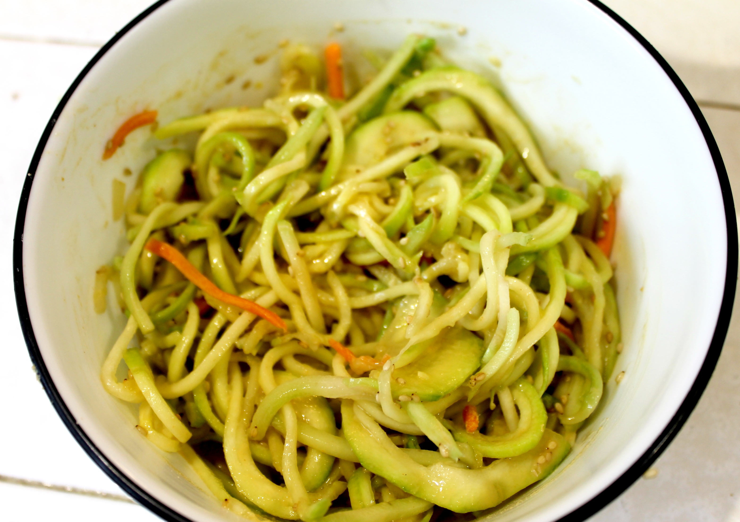 Asian Noodles with Zucchini Peanut Sauce