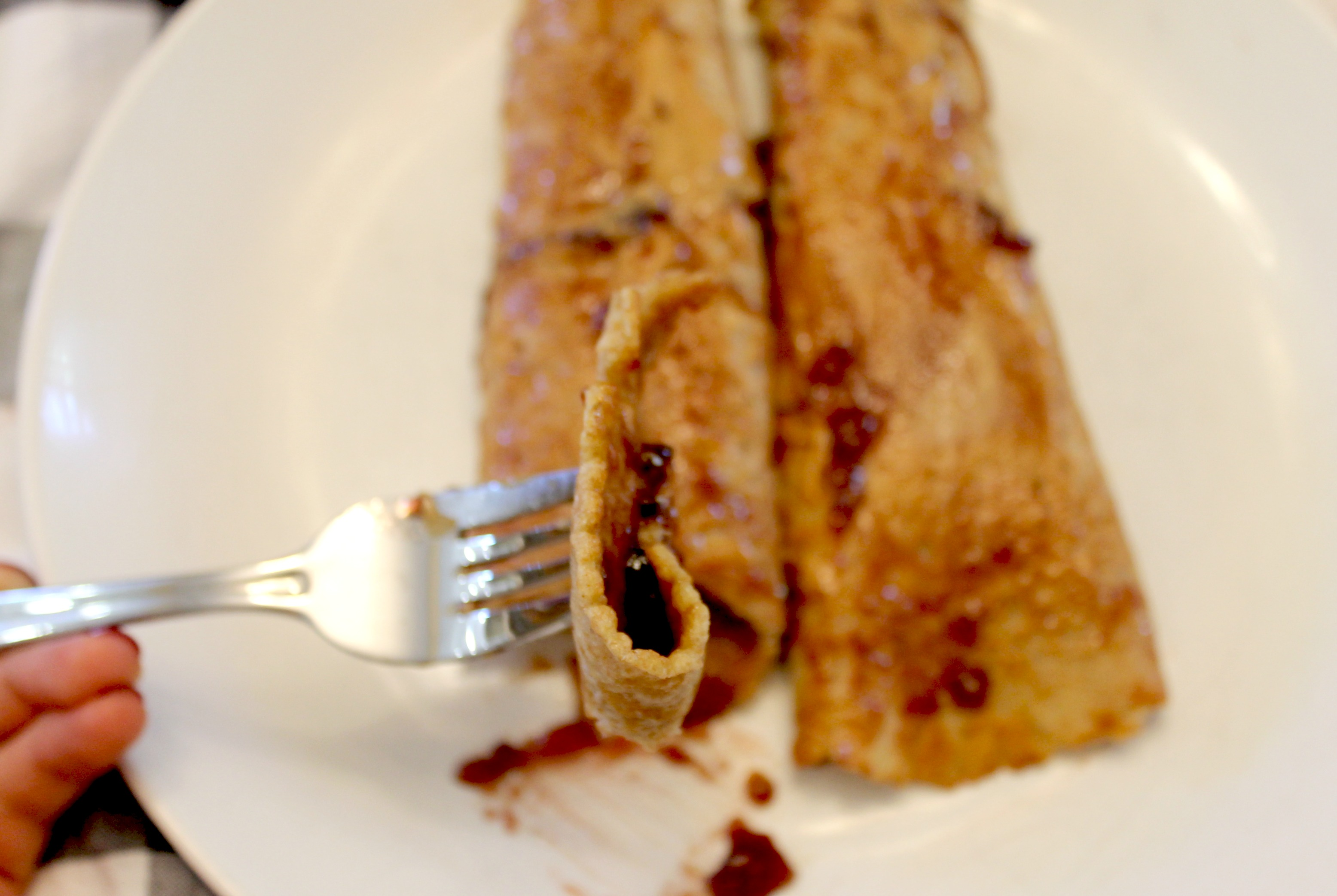 Peanut Butter and Jelly crepes fork