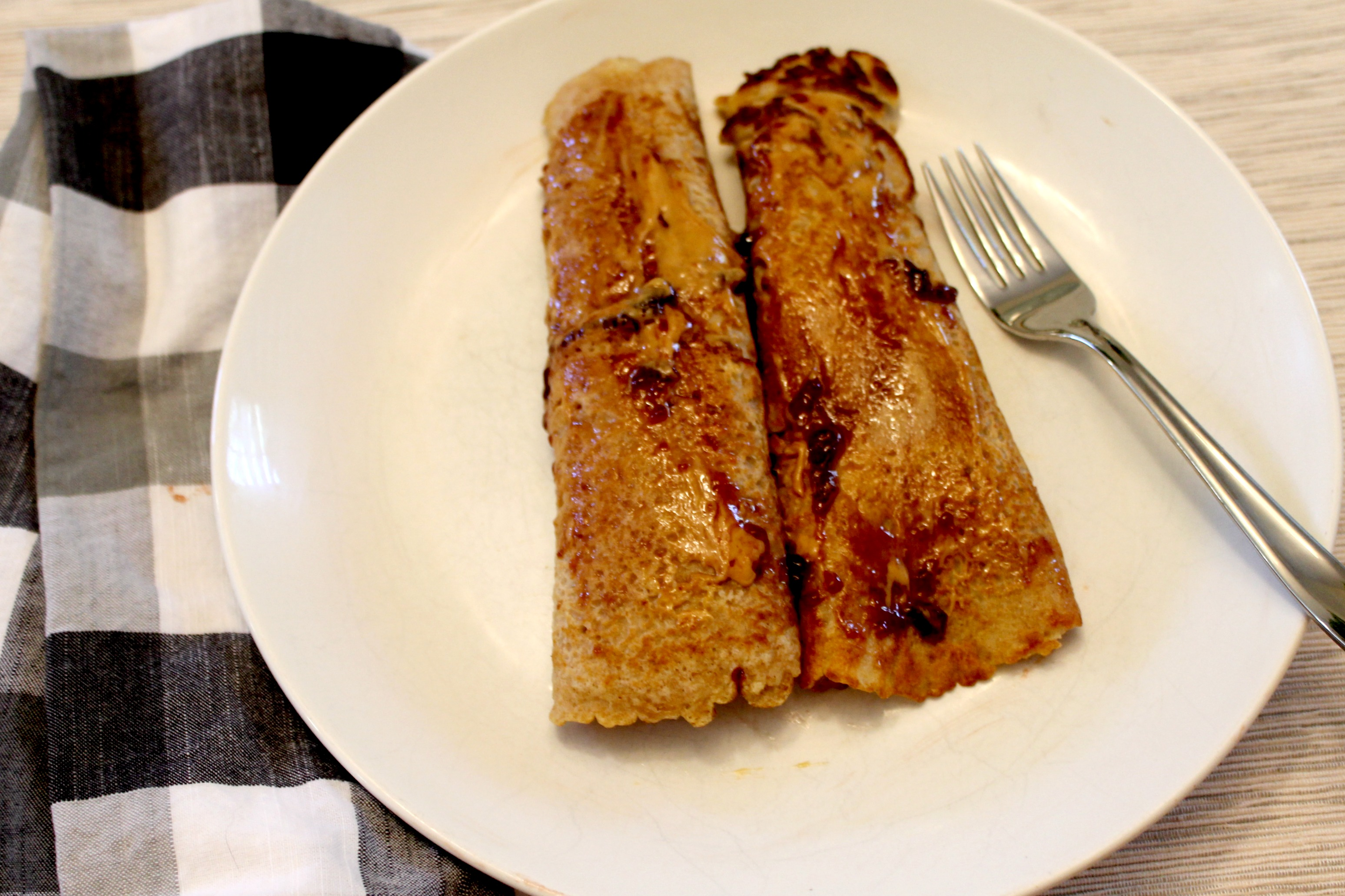 peanut butter and jelly crepes breakfast