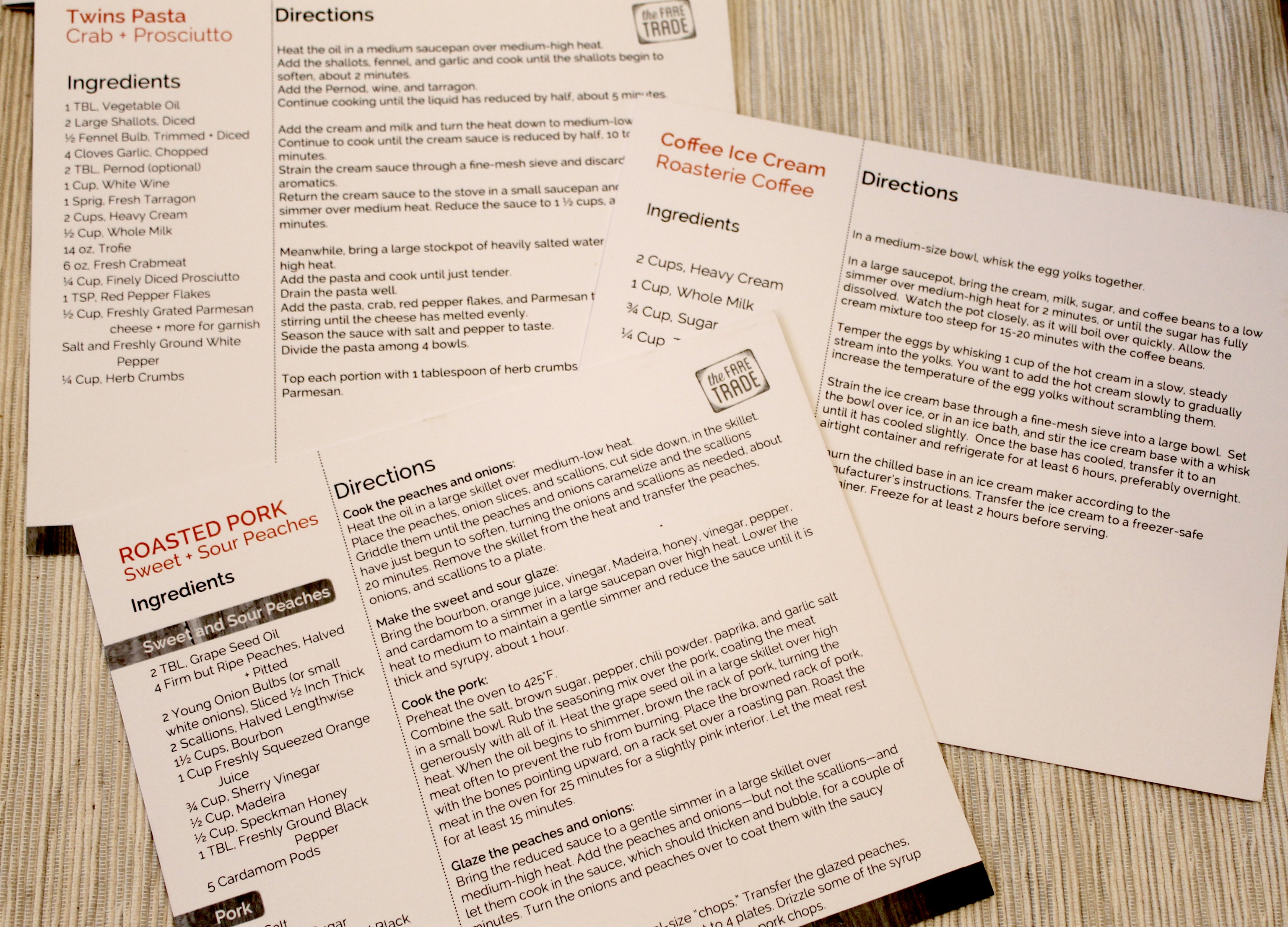 The Fare Trade Artisanal Box Recipe Cards