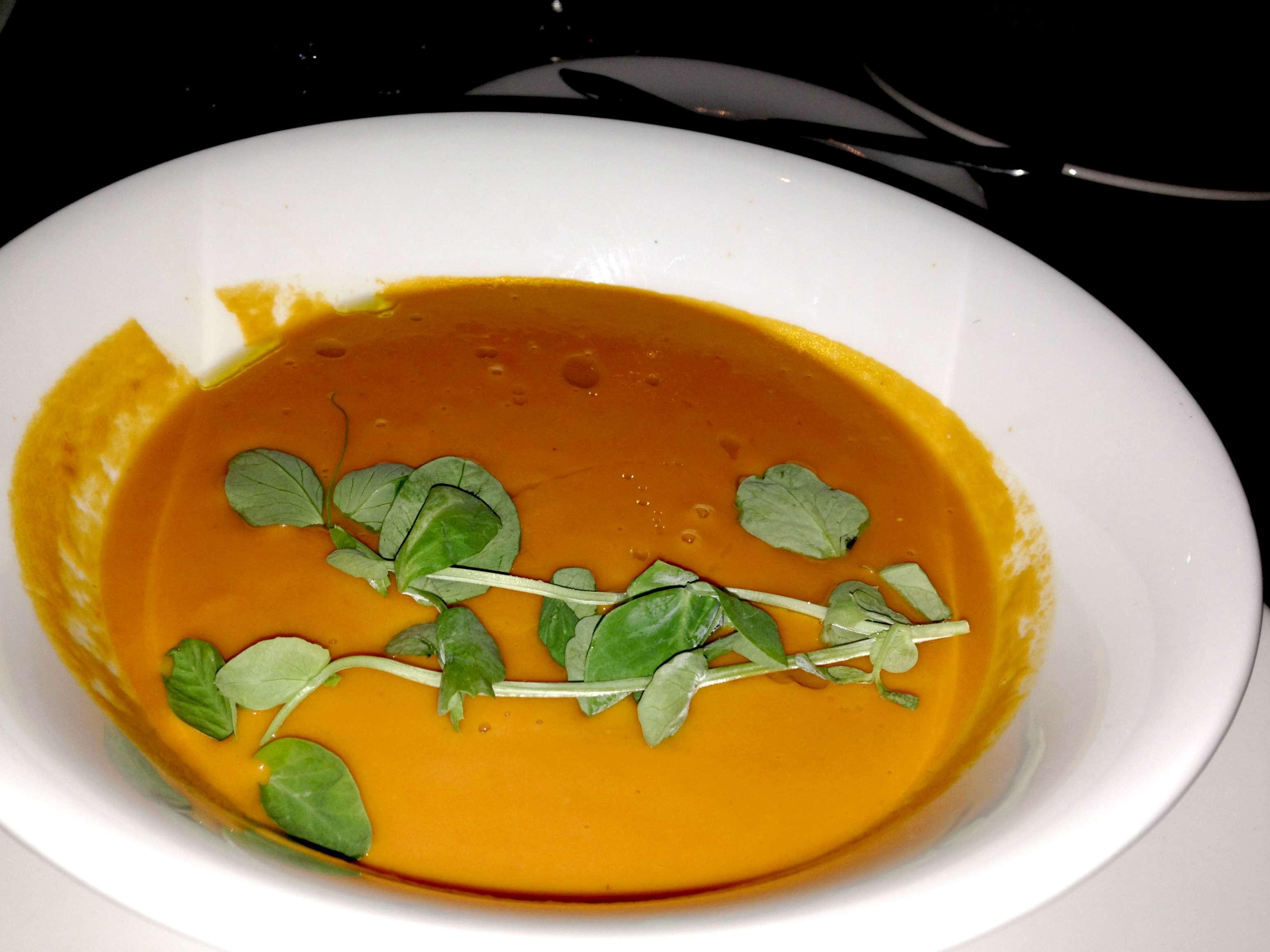 Dinner at brassaii tomato soup