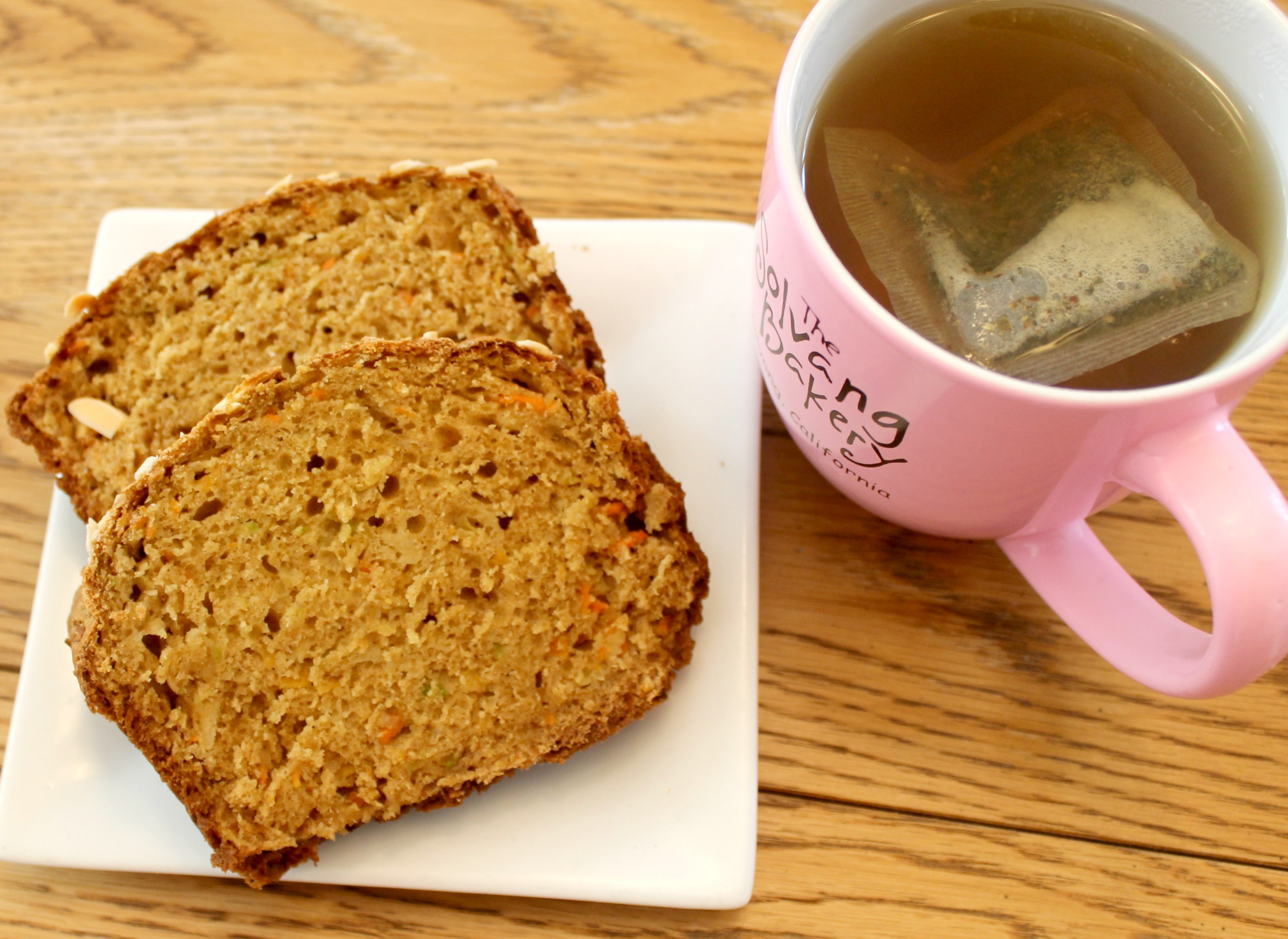 carrot parsnip zucchini bread and tea