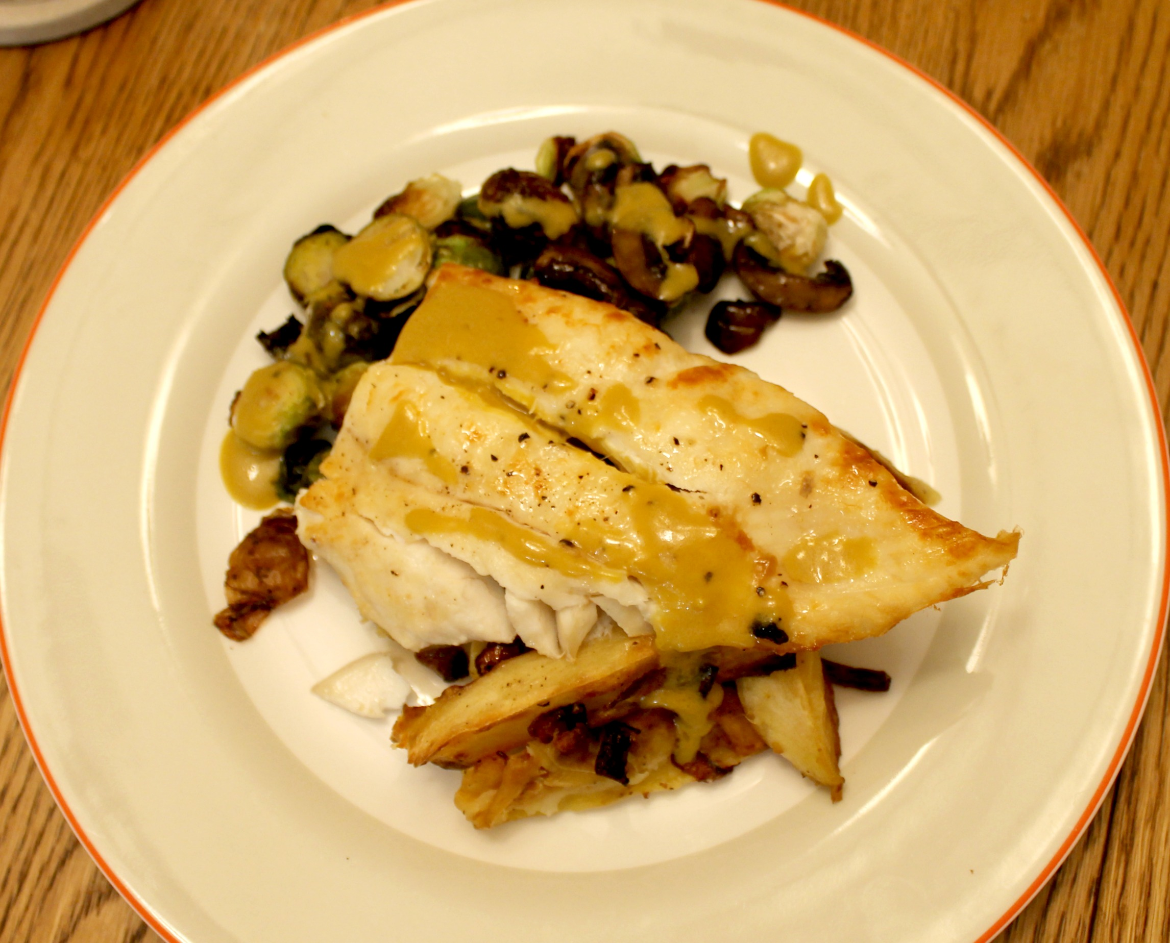 halibut with umami sauce plate