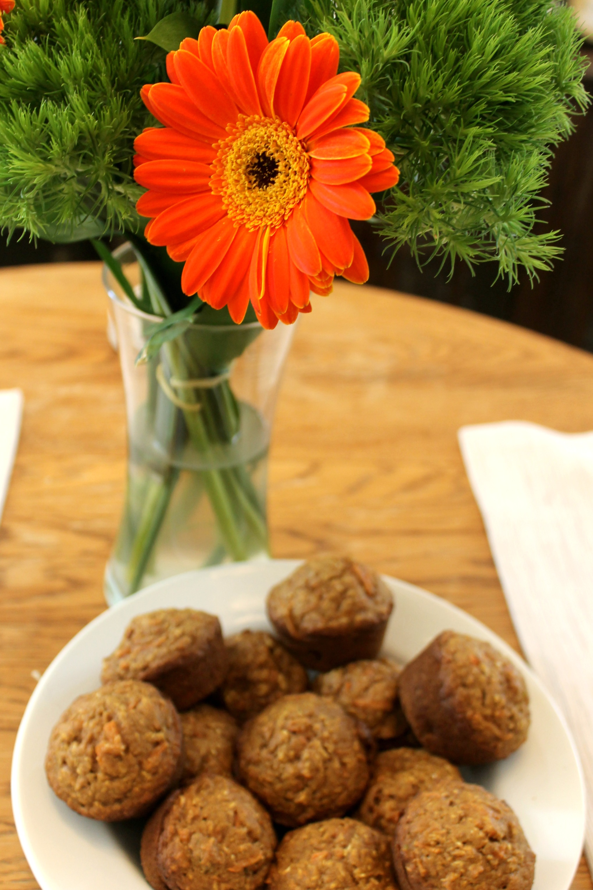 vegan carrot and apple muffins flowers