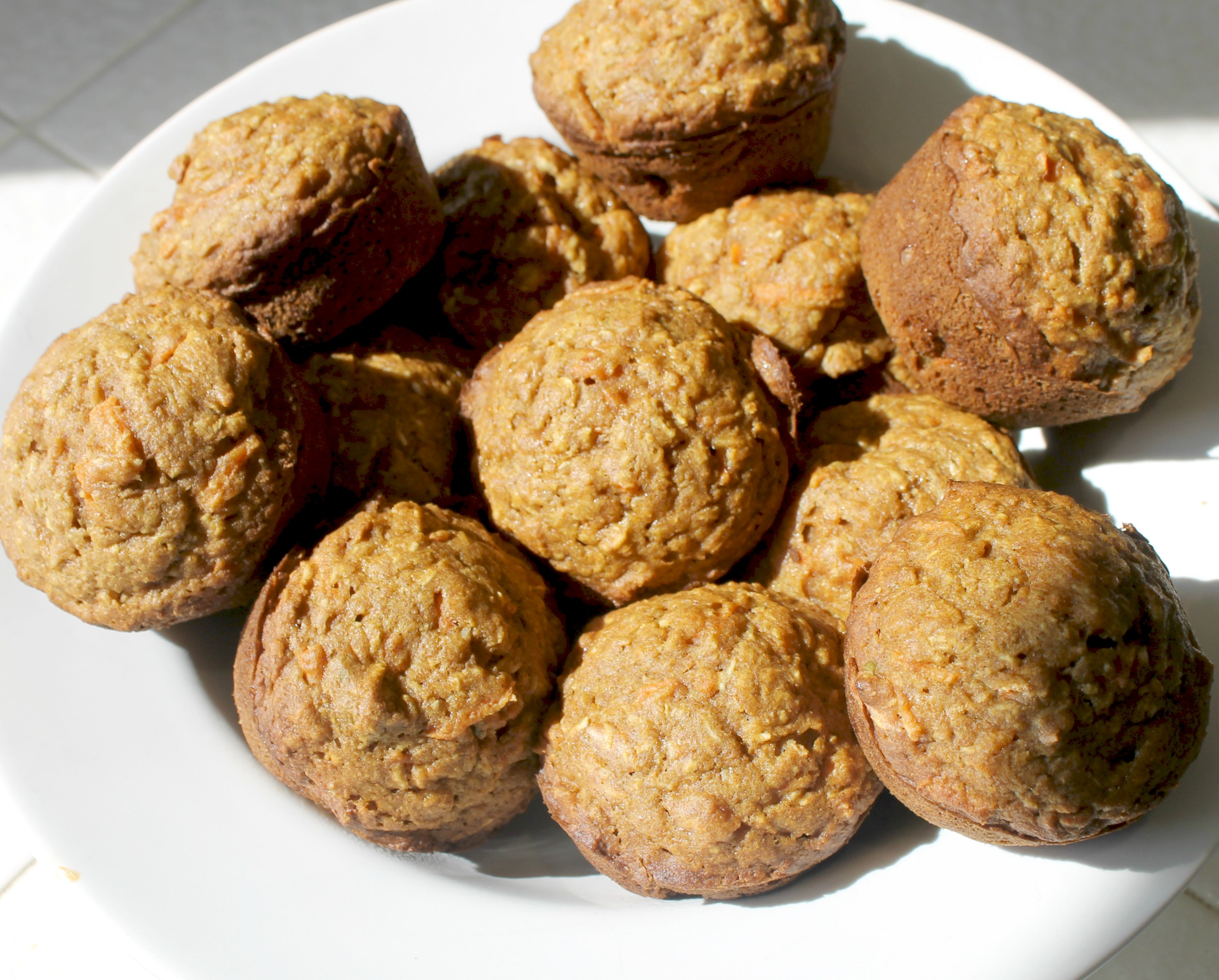 vegan carrot apple muffins close up